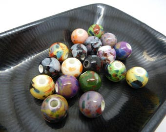 Mix 4 beads round 10mm ceramic - speckled colors (8SPC02)