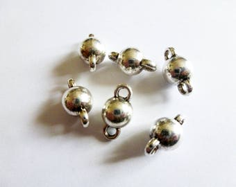 6 connectors 14.5 * 8 mm silver ball aged (SFBA11)