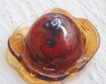 Cabochon: mysterious poppy - handmade Lampwork Glass