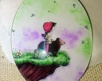 40x30mm large illustrated glass dome cabochon,