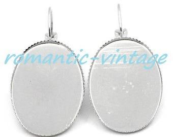 1 pair earrings sleepers silver 25 * 18mm cabochon