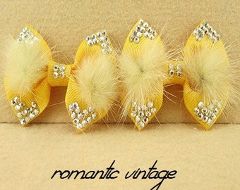 2 lovely saffron yellow bow and soft fur beige 65 * 55mm