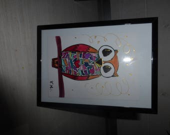 little OWL drawn by hand with marker pens