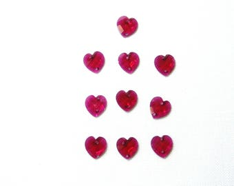 Acrylic hearts, fuschia pink, sewing