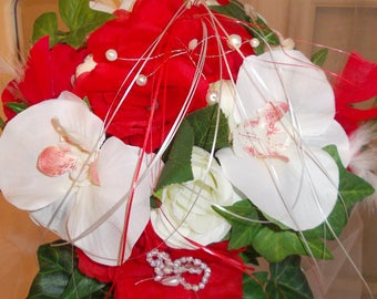 Red and white Orchid bridal bouquet