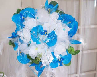 azure blue sea artificial bridal bouquet and boutonniere orchids and pink wedding