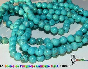 10 round beads 6 mm diameter Turquoise natural origin USA