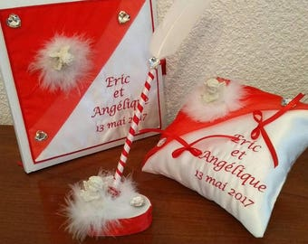ring bearer pillow wedding guestbook pen in red and white Angel theme