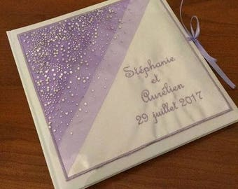 Personalized and embroidered names with Rhinestone wedding guestbook