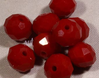 set of 50 10mm red faceted glass beads