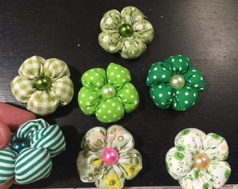 7 flowers kanzashi fabric flower, handmade flower to customize your creations, embellishment purse, hairclip, brooch, jewelry, scrapbooking
