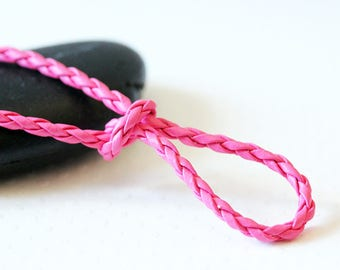 EFFECT Fuchsia 3 mm round leather cord 3 m