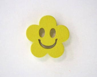 Button wood face smile from 19 mm x 10 Flower: yellow - 001884