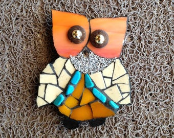 Wood magnet - Magnet - OWL - OWL - mosaic - glass - beads - sicis - colored sand - medium