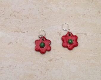 Pair of earrings flower - red - raku ceramic