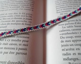 Friendship Bracelet Navy Blue with trim and pink