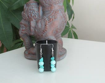 Earrings with stones of JADE and TURQUOISE