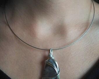 grey natural agate pendant