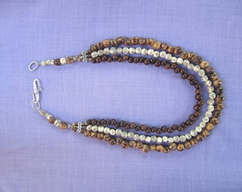 Necklace triple strand Acai seeds and royal Palm / nature necklace / tri-color necklace