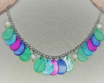 Stainless steel necklace with multicolored Pearl drops and freshwater pearls / adjustable necklace