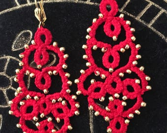 Glass beads and Red cotton tatted lace earrings earrings gold