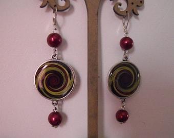 dangle earrings Burgundy cabochon 25mm swirls