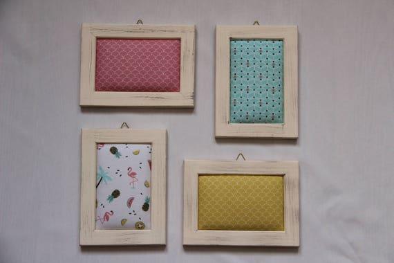 Lot de 4 cadres en bois avec tissu imprimé flamant rose