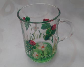 "PAINTED GLASS MUG WAS HAND MOLDED ""LADYBUGS"""