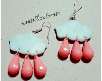 Homemade bubble earrings polymer clay
