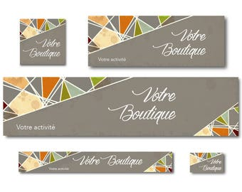 Graphic design banners mosaic taupe for Etsy Shop and Facebook page