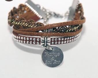 Fashion bracelet custom engraved - Ethnic Chic Brown