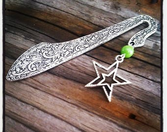 bookmark, silver, Star and Green Pearl