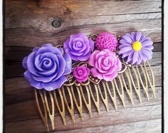 Hair comb flowers accessory, purple wedding, vintage wedding hair