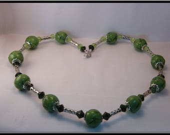Necklace beads fimo green tints.
