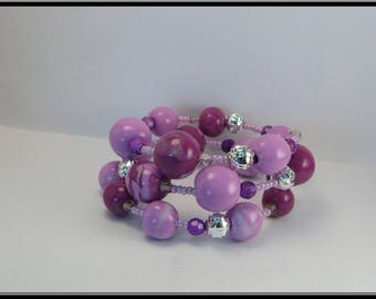 Bracelet purple and violet polymer clay beads