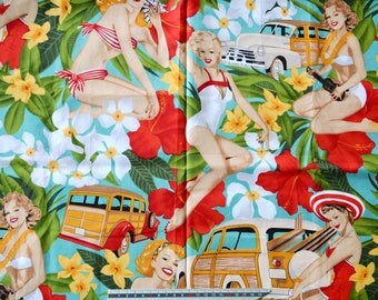 """PIN UP"" vintage pattern cotton fabric"