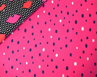 "Coupon of fabrics cotton ROSE pattern ""Dots"" - white and Navy 47 * 50cms"