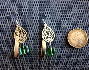 Earrings for pierced ears, silver metal and stone. By Mary j designs