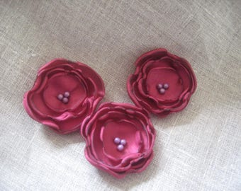 Flower 5 cm purple raspberry/Burgundy satin and pearls