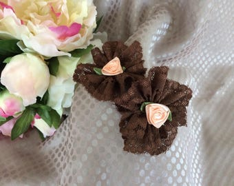 Brown lace and flower in salmon satin flower