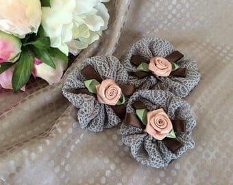 Set of three lace flowers grey and pink flower