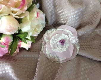 Linen purple and ivory lace flower