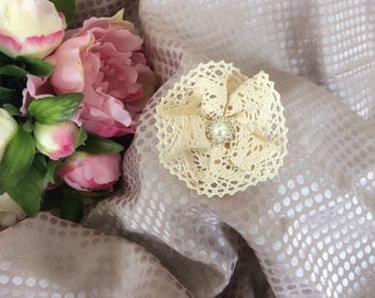 Flower 7 cm beige cotton lace with Rhinestones
