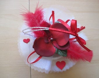 Table centerpiece, wedding, red and white