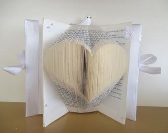 Folded book pattern heart, personalized