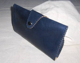 Navy hand stitched leather pouch