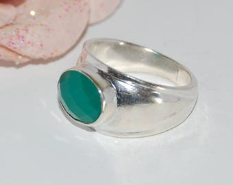 Green onyx and Silver 925 band ring - size 53