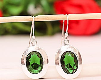 Earrings in 925 sterling silver and marked green chrome diopside