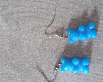 Blue candy bear earrings