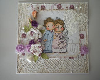 """Kit and tutorial for card """"wedding"""" with characters"""